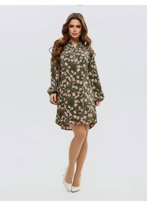 Асимметричное платье-рубашка цвета хаки с принтом