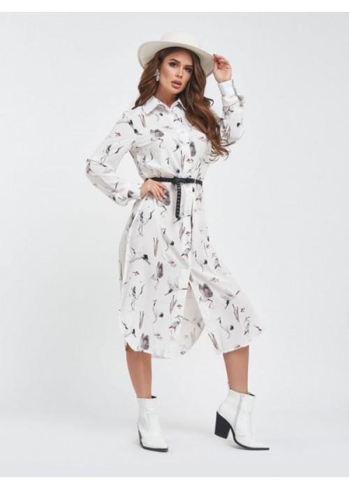 Белый платье-рубашка с принтом в птицы