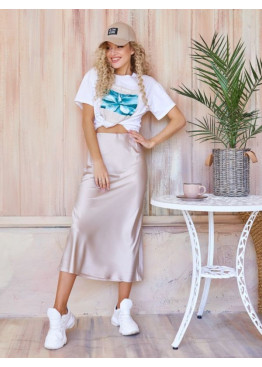 Бежевая шелковая юбка-колокол в бельевом стиле