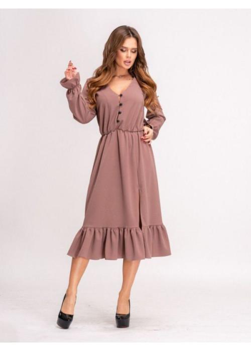 Платье миди с воланом по низу бежевого цвета