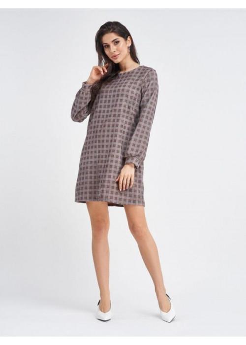 Вельветовое клетчатое платье мини коричневого цвета