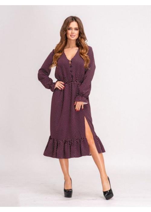 Платье миди в горох с воланом по низу бордового цвета
