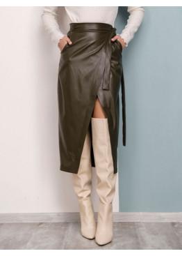 Кожаная юбка цвета хаки с карманами на запах