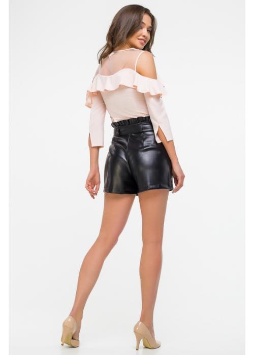 Блуза с фигурным воланом приталенного силуэта из тонкой шелковистой ткани и сетки
