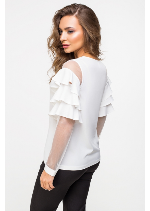 Оригинальная блуза из тонкой шелковистой ткани и сетки,с воланами на рукавах