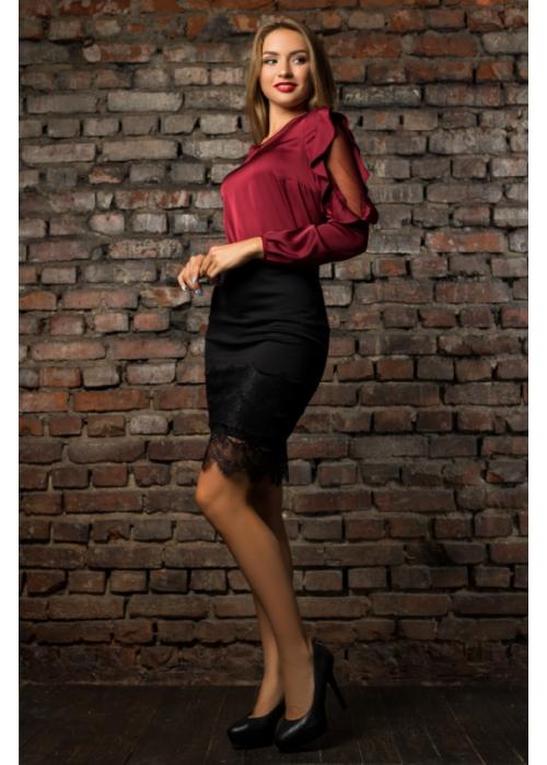 Шелковая блуза винного цвета с воланами по рукавам