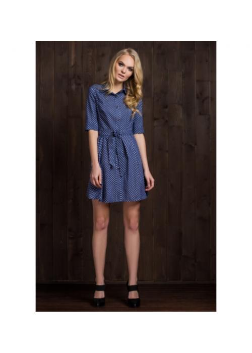 Платье-рубашка приталенного силуэта из стрейчевой джинсовой ткани
