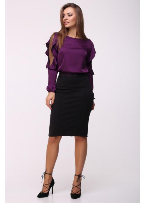 Шелковая фиолетовая блуза с воланами по рукавам