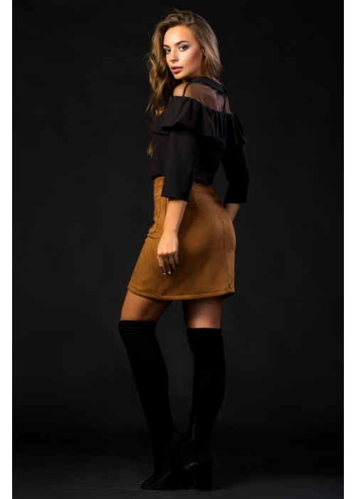 Стильная комбинированная блуза из тонкой шелковистой ткани и сетки
