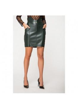 Модная юбка из эко-кожи на замше