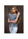 Оригинальная блуза приталенного силуэта  с модными элементами дизайна