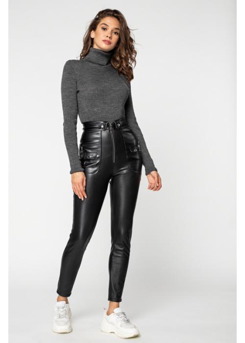 Стильные брюки из эко-кожи на меху