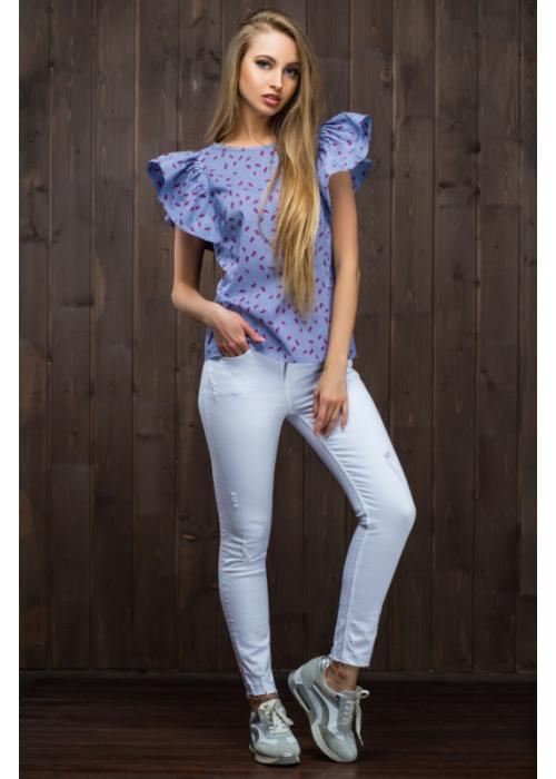 Летняя блузка из хлопка рубашечной расцветки, полуприталенного силуэта