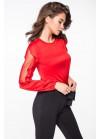 Шелковая красная блуза с воланами по рукавам