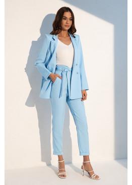 Брючный голубой костюм с длинным жакетом и брюками с высокой талией Сьюзен