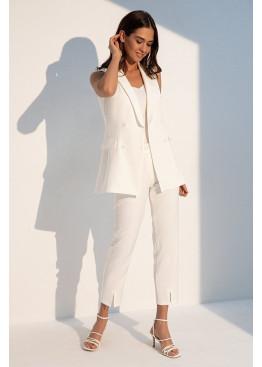 Летний белый костюм двойка с длинным жилетом Вивьен 3113