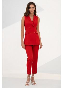 Летний красный костюм с длинным жилетом Эмилия 3114