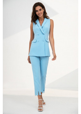 Летний голубой костюм с длинным жилетом Софи 3115