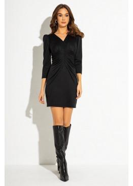 """Черное трикотажное платье футляр с защипами на талии и V-образным вырезом в узор """"гусиная лапка"""""""