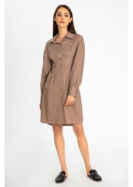 Утонченное платье-рубашка цвета мокко приталенного кроя