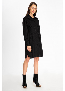 Утонченное платье-рубашка черного цвета приталенного кроя