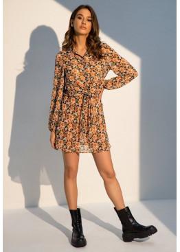 Шифоновое платье-рубашка Кристин в цветочный принт