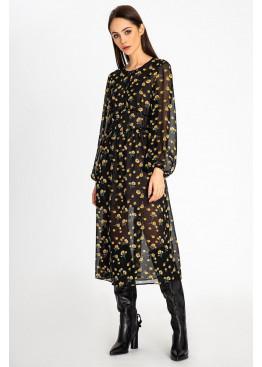 Шифоновое платье в цветочный принт длины миди на трикотажной подкладке