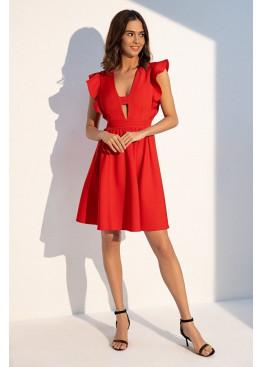 """Романтичное летнее платье отрезное по линии талии с рукавом """"крылышко"""", красное"""