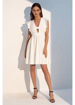 """Романтичное летнее платье отрезное по линии талии с рукавом """"крылышко"""", белый"""
