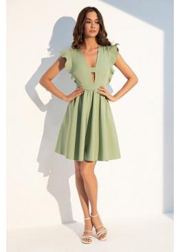 """Романтичное летнее платье отрезное по линии талии с рукавом """"крылышко"""", оливка"""