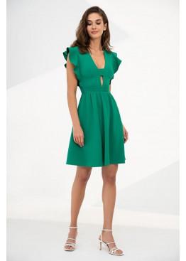"""Романтичное летнее платье отрезное по линии талии с рукавом """"крылышко"""", зеленое"""