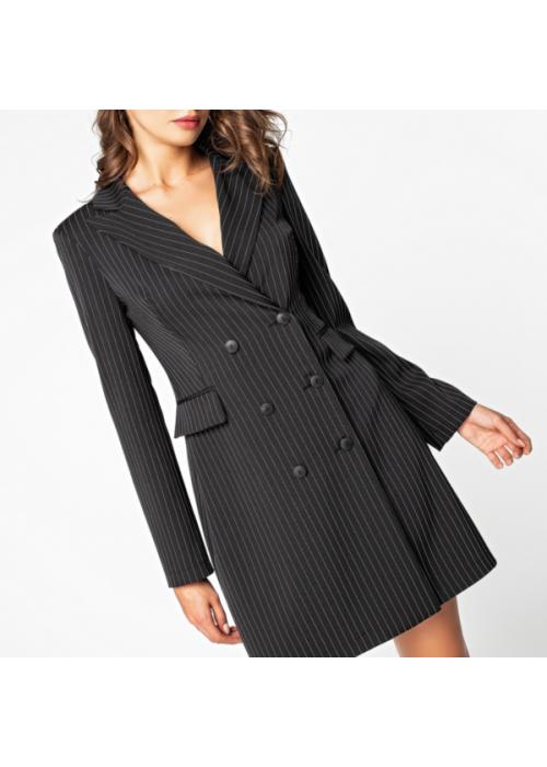 Двубортное платье-жакет из костюмной ткани чёрного цвета в полоску