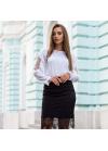 Шелковая белая блуза с воланами по рукавам