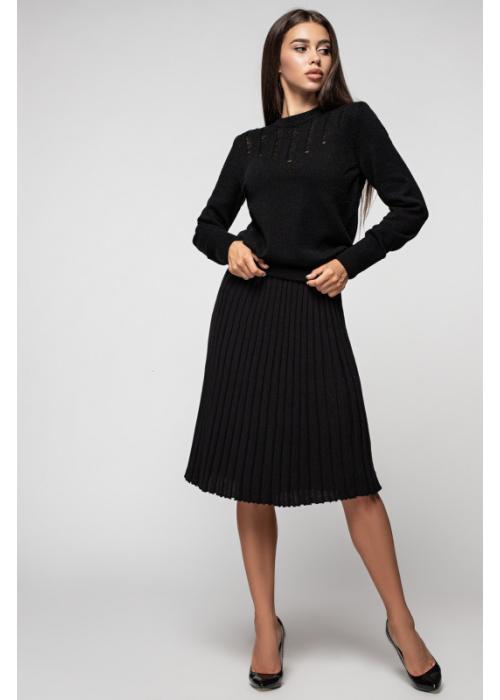 Трикотажная плиссированная юбка миди