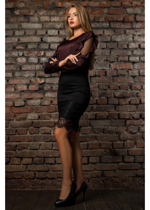 Шелковая коричневая блуза с воланами по рукавам