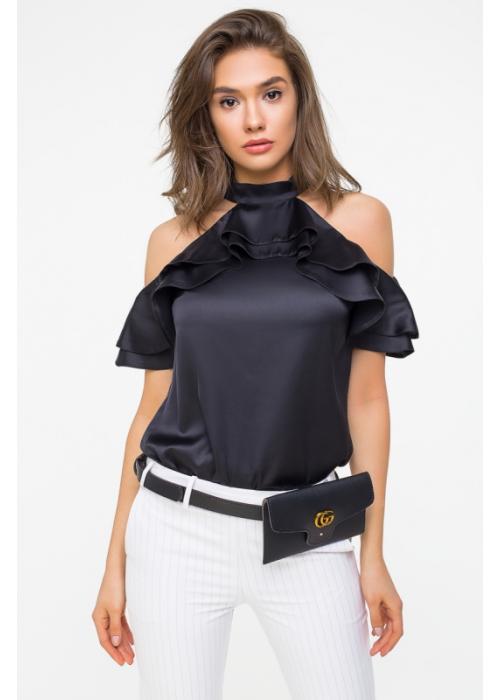Стильная блуза из шелка со стойкой и двумя воланами
