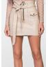 Бежевая мини юбка из эко-кожи на замше