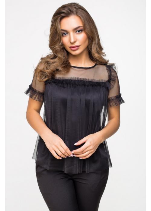 Блуза из сетки на трикотажной подкладке