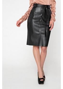 Кожаная юбка миди на замше с удобными накладными карманами, декорирована пуговицами