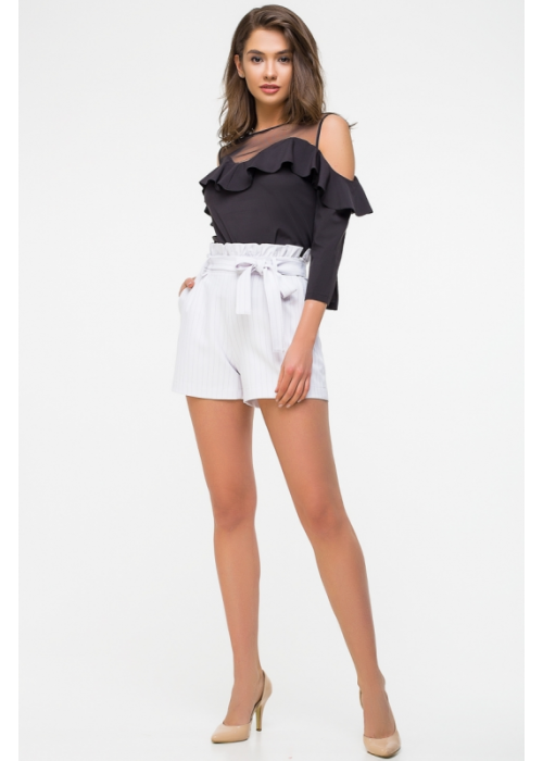 Стильные шорты с поясом из креповой костюмной ткани