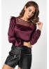 Стильная блуза, комбинированная из шелка, сетки и фатина