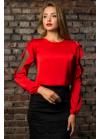 Шелковая блуза красного цвета с воланами по рукавам
