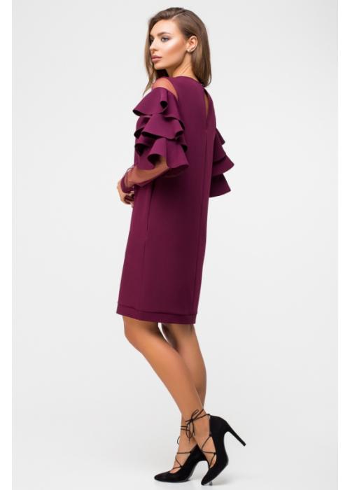 Стильное платье с воланами на рукавах и карманами из костюмной ткани и сетки