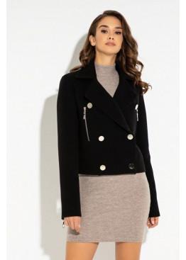 Пальто в стиле косухи из кашемира, с отложным воротником и металлической фурнитурой