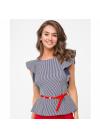 Стильная блуза приталенного силуэта с поясом в комплекте
