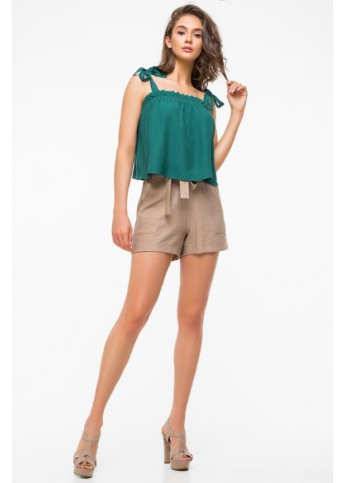 Летние шорты с высокой посадкой из льняной ткани на резинке,с поясом и накладными карманами