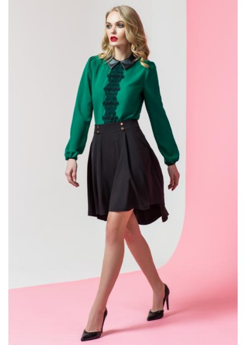 Стильная юбка из костюмной ткани удлиненная по спинке