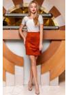 Стильная кирпичная замшевая юбка в форме легкой трапеции
