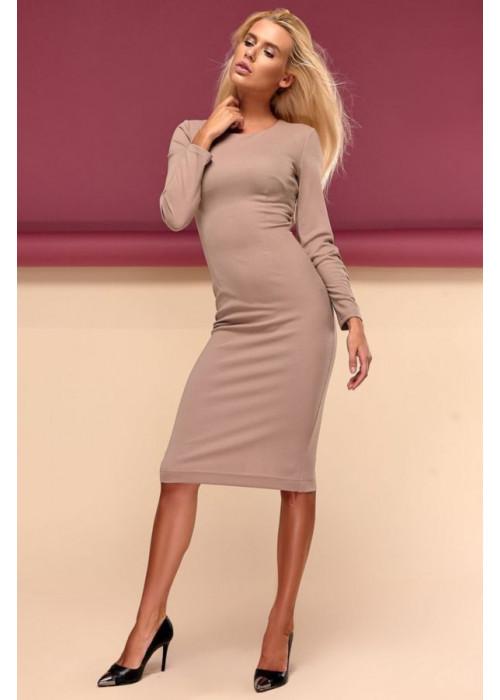 Шикарное платье футляр миди бежевого цвета