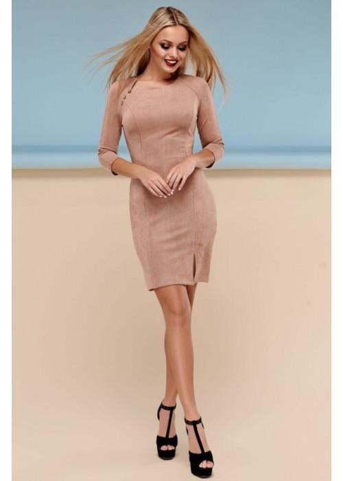 Сдержанное облегающее платье бежевого цвета